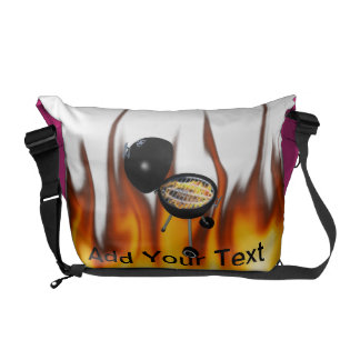 BBQ Pit & Grill on Fire Courier Bag
