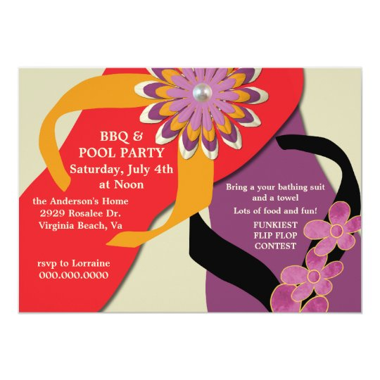 BBQ & Pool Party Flip Flop Invitation-honey Card