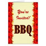 BBQ Red Flames Custom Folded Invitation