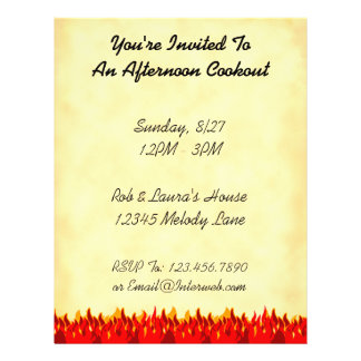 BBQ Red Flames Custom Party Flyer Template