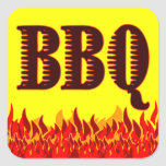 BBQ Red Flames Customisable Jar or Canning Sticker