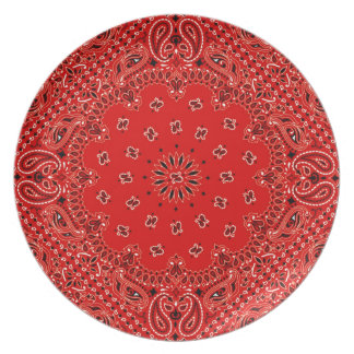 BBQ Red Paisley Western Bandana Scarf Print Plate