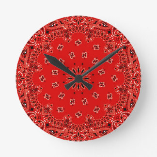 BBQ Red Paisley Western Bandana Scarf Print Round Clock