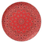 BBQ Red Paisley Western Bandanna Scarf Print Plate