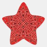 BBQ Red Paisley Western Bandanna Scarf Print Star Sticker