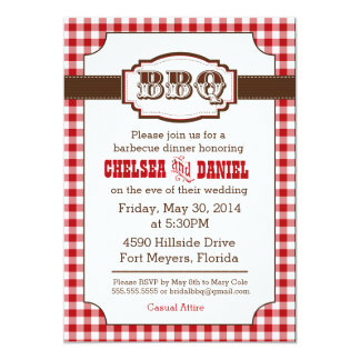 BBQ Rehearsal Dinner Invitation, Rustic Country 13 Cm X 18 Cm Invitation Card