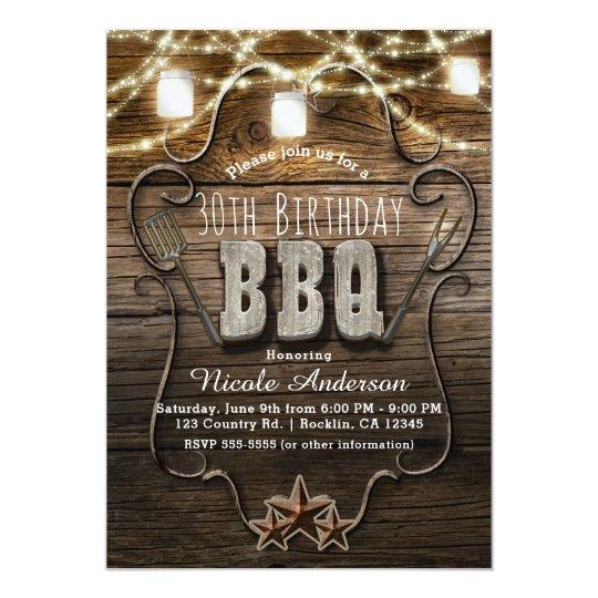 BBQ Rustic Wood Mason Jars Lights Birthday Party