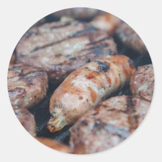 BBQ Sausages Classic Round Sticker