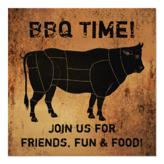 BBQ Time! 13 Cm X 13 Cm Square Invitation Card