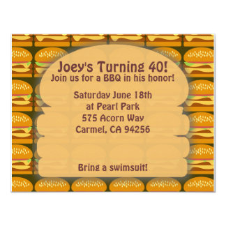 "BBQ Time Simple Style! 4.25"" X 5.5"" Invitation Card"