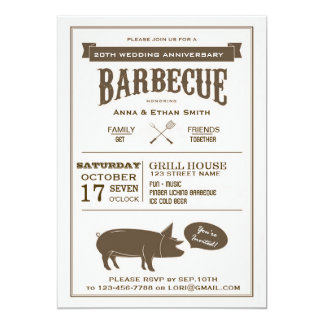 BBQ Wedding Anniversary Party Invitation