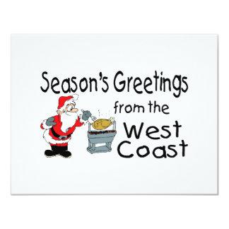 BBQ West Coast Seasons Greetings 11 Cm X 14 Cm Invitation Card