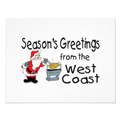 BBQ West Coast Seasons Greetings Custom Invites