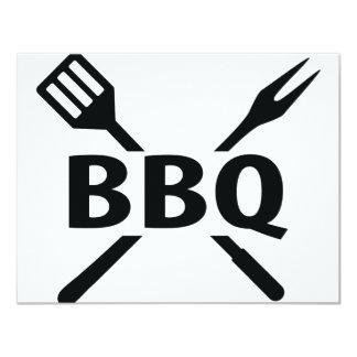 BBQ with cutlery icon 11 Cm X 14 Cm Invitation Card