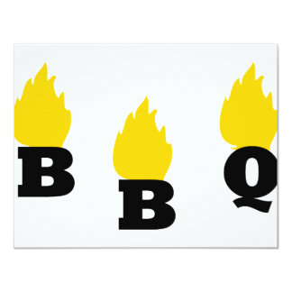 BBQ with flames icon 11 Cm X 14 Cm Invitation Card
