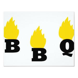 BBQ with flames icon 11 Cm X 14 Cm Invitation Card