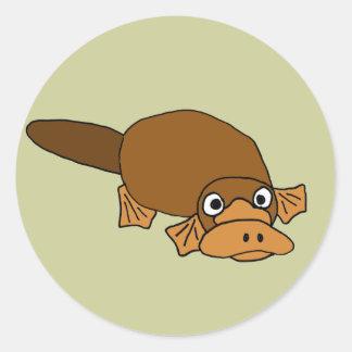 BC- Duck Billed Platypus Cartoon Round Sticker
