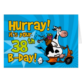 bd scooter cow - 38 greeting card
