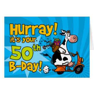 bd scooter cow - 50 greeting card