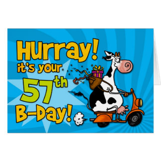 bd scooter cow - 57 greeting card