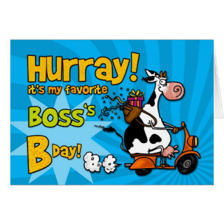 bd scooter cow - boss greeting card