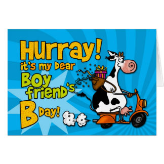 bd scooter cow - boyfriend greeting card