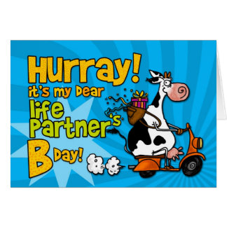 bd scooter cow - life partner greeting card