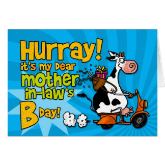 bd scooter cow - mother-in-law greeting card
