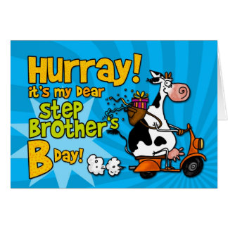 bd scooter cow - step brother greeting card