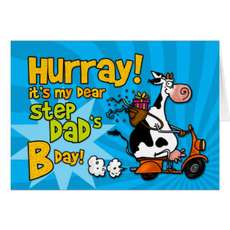 bd scooter cow - step dad greeting card
