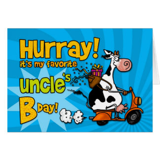 bd scooter cow - uncle greeting card