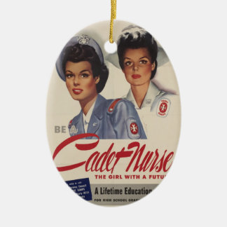 Be a Cadet Nurse Double-Sided Oval Ceramic Christmas Ornament