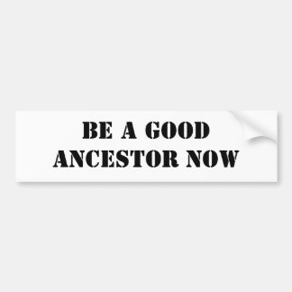 Be A Good Ancestor Now Bumper Sticker
