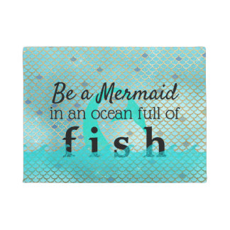 Be a Mermaid Quote Beach Teal Turquoise Gold Doormat