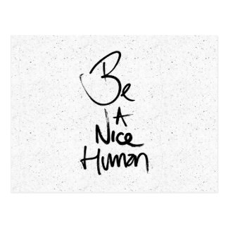 """Be a Nice Human"" Typography Design Postcard"