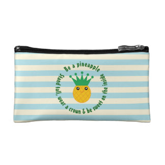 Be A Pineapple Inspirational Quote Makeup Bag