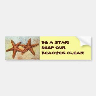 BE A STAR!KEEP OUR BEACHES CLEAN! STARFISH BUMPER STICKER