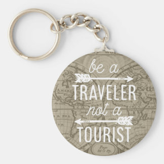 Be a Traveler Not a Tourist Map Typography Quote Basic Round Button Key Ring