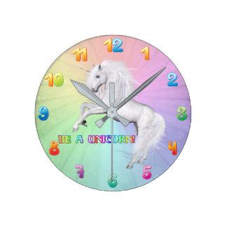 Be A Unicorn Round Clock