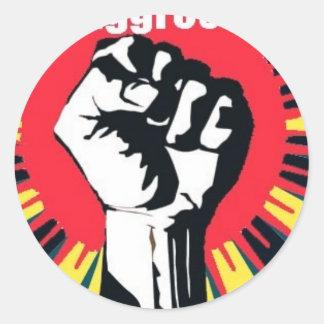 be agressive commie round sticker
