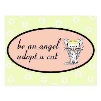 Be An Angel Adopt A Cat Postcard