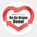 Be An Organ Donor Round Sticker
