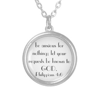 be anxious for nothing bible verse necklace