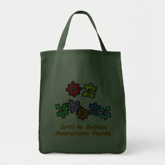 BE AWARE - April is Autism Awareness Month Grocery Tote Bag