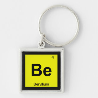 Be - Beryllium Chemistry Periodic Table Symbol Silver-Colored Square Key Ring