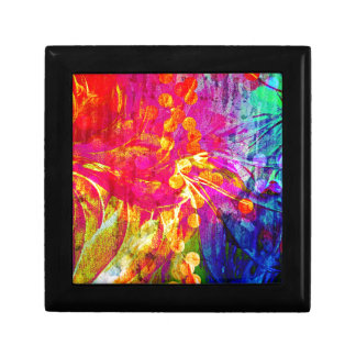 Be Bold, Colorful Rainbow Abstract Floral Painting Keepsake Box