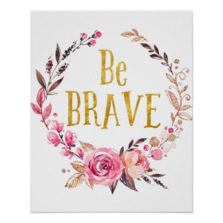 Be Brave Boho Woodland Baby Nursery Print Poster