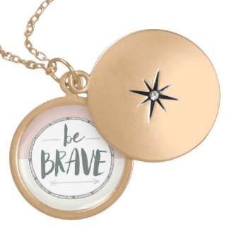 Be Brave Feather & Arrows Locket Necklace