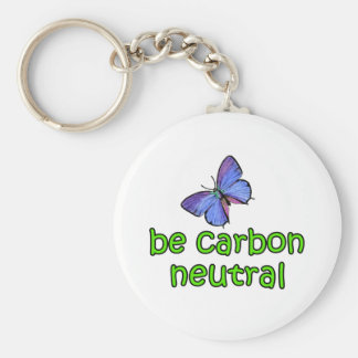 Be Carbon Neutral Basic Round Button Key Ring
