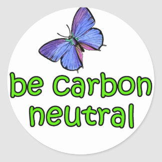 Be Carbon Neutral Round Stickers